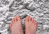 barefoot on snow