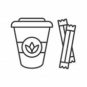 Tea To Go With Sugar Sachets Linear Icon. Thin Line Illustration. Disposable Tea Cup With Lid. Conto poster