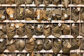 Background from folded gas masks in cells