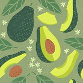 Avocado Seamless Pattern. Whole And Sliced Avocado With Leaves And Flowers On Shabby Background. Ori poster