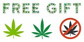 Free Gift Caption Composition Of Hemp Leaves In Variable Sizes And Green Tones. Vector Flat Marijuan poster