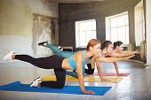 Yoga Class, Pilates, Fitness, Flexibility, Activity And Healthy Lifestyle. Fit Sporty Women Working  poster