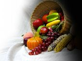image of give thanks  - thanks giving with colourful fruits in a basket - JPG