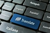 pic of telecommuting  - Multilingual translation online concept - JPG