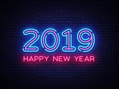2019 Happy New Year Neon Text. 2019 New Year Design Template For Seasonal Flyers And Greetings Card  poster