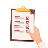 Hand With Checklist. Hand Holding And Completing Checklist On Clipboard. Business Concept. Clipboard poster