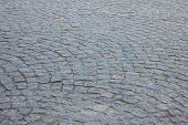 Cobblestone Pavement Textured Pattern Of Narrow Retro Street. Old Town Square Fragment With Road Det poster