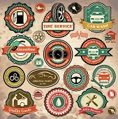 foto of car symbol  - Collection of vintage retro grunge car labels - JPG