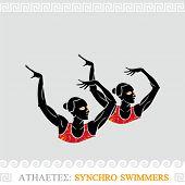 Griechische Kunst stilisierte synchronisiert Schwimmer Duett