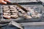 Juicy Burger Meat Patties On Hot Cooking Grill