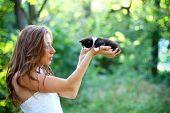 Pretty Young Caucasian Girl  With Cute Kitten