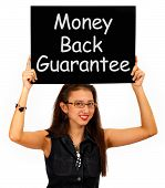 Money Back Guarantee Board Held By Girl