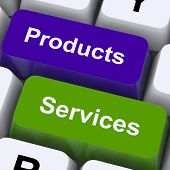 Products And Services Keys Show Selling And Buying Online