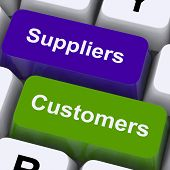 Suppliers And Customers Keys Show Supply Chain Or Distribution