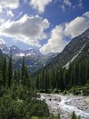 mountains and creek