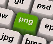 stock photo of png  - Png Key Showing Picture Format For Images - JPG
