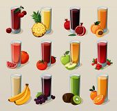 PrintSet of tasty fresh squeezed juices.