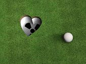 stock photo of enthusiastic  - a golf hole shaped like a heart - JPG