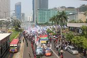 Thousands of Workers Marched in Jakarta