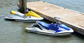 image of waverunner  - Wave runners moored on a floating dock at Florida - JPG