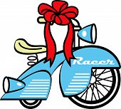 Vintage Trike or Tricycle Christmas Bow Clip Art