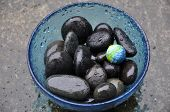 Black Stones Blue Bowl