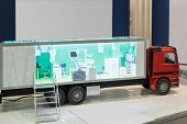 MOSCOW - DECEMBER 8: Mobile medical diagnostic equipment on 20th International Exhibition Health Car