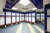 MADRID - MARCH 8: Empty locker room in Santiago Bernabeu Stadium - arena of soccer club Real Madrid,