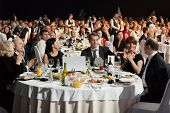 MOSCOW - APR 12: People sitting at the tables during Ceremony of rewarding of winners of an award Br