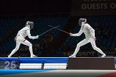 MOSCOW - APR 6: Start of fight on championship of world in fencing among juniors and cadets, in Spor