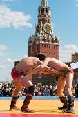 MOSCOW - MAY 26: The fighters are locked in Mongolian wrestling on Nation-wide 2012 Games SPORTS GEN