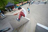MOSCOW - MAY 12: Skateboarders perform at opening of skatepark in Culture and Recreation Park Sokolniki, May 12, 2012, Moscow, Russia. Skatepark in Sokolniki - pilot project of this format in Moscow.
