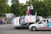 MOSCOW - JUN 30: Performance of members from stuntmen team Avtorodeo Togliatti Trick during Speedfes