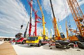 MOSCOW - MAY 29: Cranetrucks and caterpillar cranes at 13th International Specialized Exhibition CET