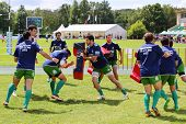 MOSCOW - JUNE 30: Workout of team from Portugal at second stage of European championship on rugby-7