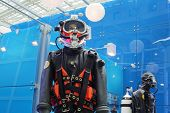 MOSCOW - MAY 23: Diving suits at Russia Marine Industry Conference 2012 in Gostiny Dvor, on May 23,