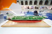 MOSCOW - MAY 23: Model of fuel tanker at Russia Marine Industry Conference 2012 in Gostiny Dvor, on