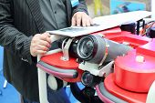 MOSCOW - MAY 23: Demonstration of devices for underwater photography at Russia Marine Industry Confe