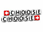 3D Choose Choose Button Click Here Block Text