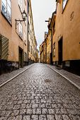 Narrow Street In Old Town (gamla Stan) Of Stockholm, Sweden