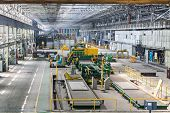 Production workshop with special equipment for aluminum rolling.