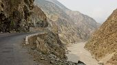 stock photo of karakoram  - Karakorum Highway in the narrow Indus Gorge in Pakistan - JPG