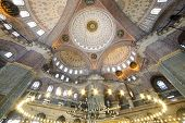 Grand, beautiful dome in old New Mosque (Yeni Cami) in Istanbul, Turkey. Mosque was built in the yea