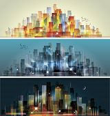 picture of city silhouette  - Modern city skyline scene - JPG