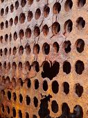 Rusted perforated metal