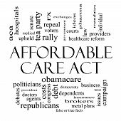 Affordable Care Act Word Cloud Concept In Black And White