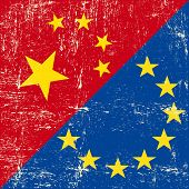 Chinese and european grunge Flag. this flag represents the relationship  between european union and