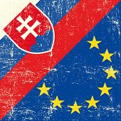 Slovak and european grunge Flag. flag of european union members