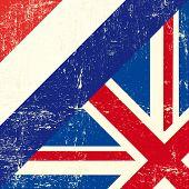 Постер, плакат: Английский и Нидерланды гранж флаг Этот флаг представляет связь между Великобританией и Nethe