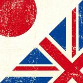 Inglês e Japão grunge bandeira. Esta bandeira representa a relação entre o Japão e a União de UK